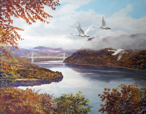 Mute Swans Over Bear Mountain Bridge Painting