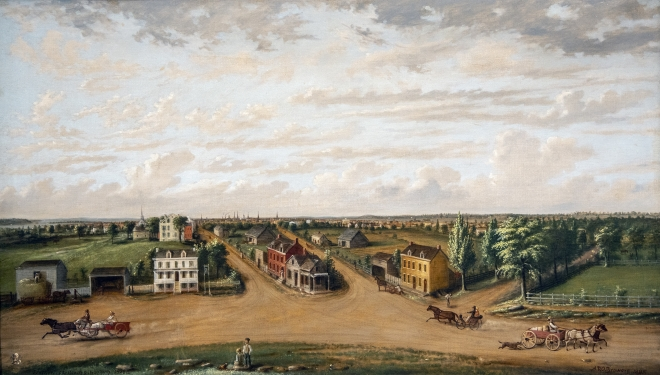 Junction of the Bowery and Broadway, 1828 Painting